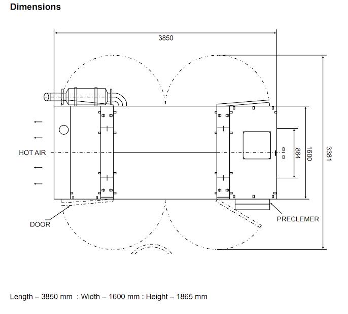 این کمپرسور در ابعاد ۳۸۵۰ میلیمتر طول، ۱۶۰۰ میلیمتر عرض و ۱۸۶۵ میلیمتر ارتفاع ساخته می شود.