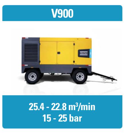 کمپرسور V900 اطلس کوپکو، دیزل متحرک و اسکرو بوده و ماکسیمم فشار ۲۵ بار و ماکسیمم دبی هوای فشردهی ۲۵/۴ دارد.