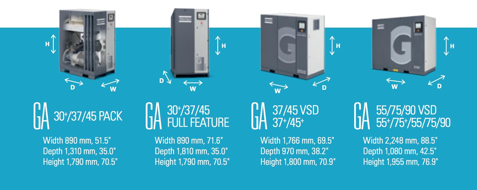 مقایسه ابعاد نسخههای مختلف کمپرسور اسکرو برقی GA، از ۳۰ تا ۹۰.