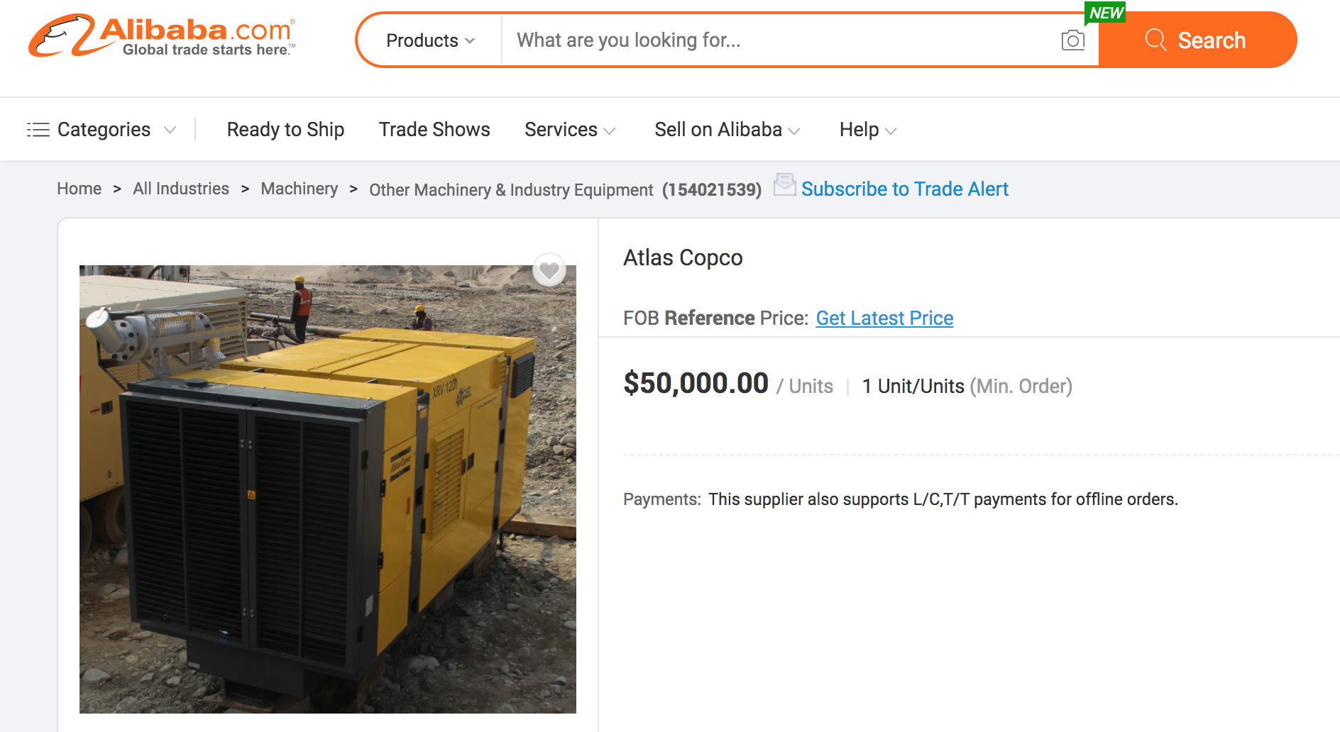 تصویری از یک واحد کمپرسور XRV 1200 بر روی وبسایت علی بابا با قیمت ۵۰ هزار دلار.
