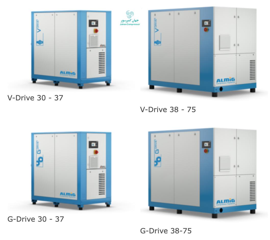 مدلهای مختلف کمپرسورهای اسکرو برقی آلمیگ، درایو G